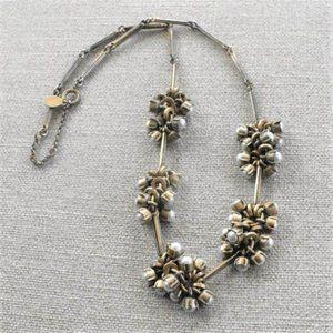LOFT Faux Pearl Cluster Goldtone Necklace